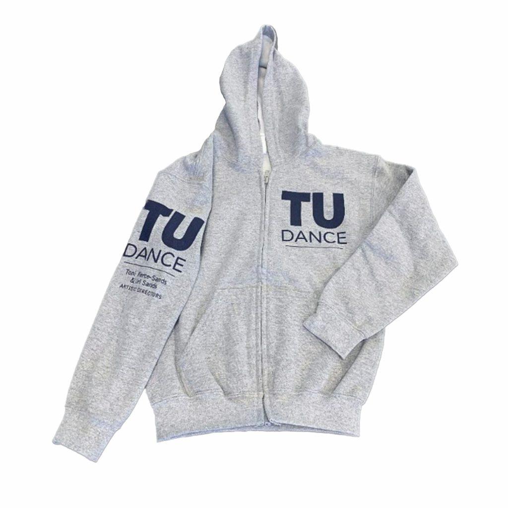 TU Dance Zip-Up Hoodie (gray w/ navy blue print)